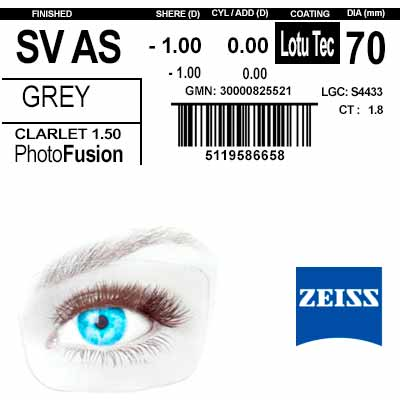 Zeiss Single Vision 1.6 AS  LotuTec PhotoFusion