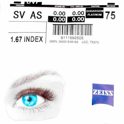 Zeiss Single Vision 1.67 AS DV Platinum