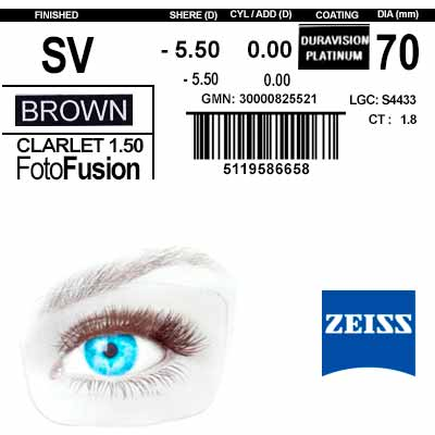 Zeiss Single Vision 1.5 DV Platinum PhotoFusion