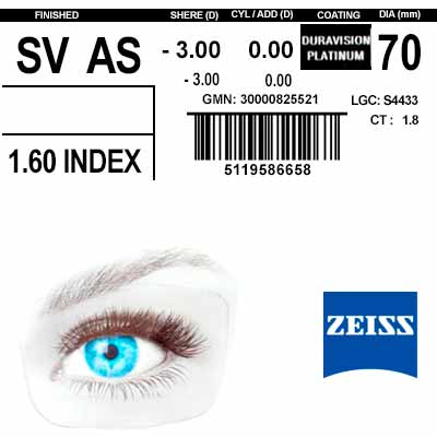 Zeiss Single Vision 1.6 AS DV Platinum